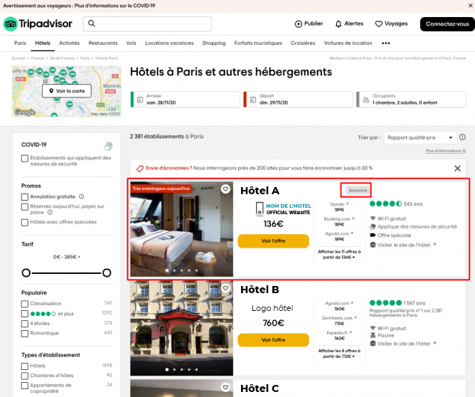 Résultats annonces sponsored placements tripadvisor