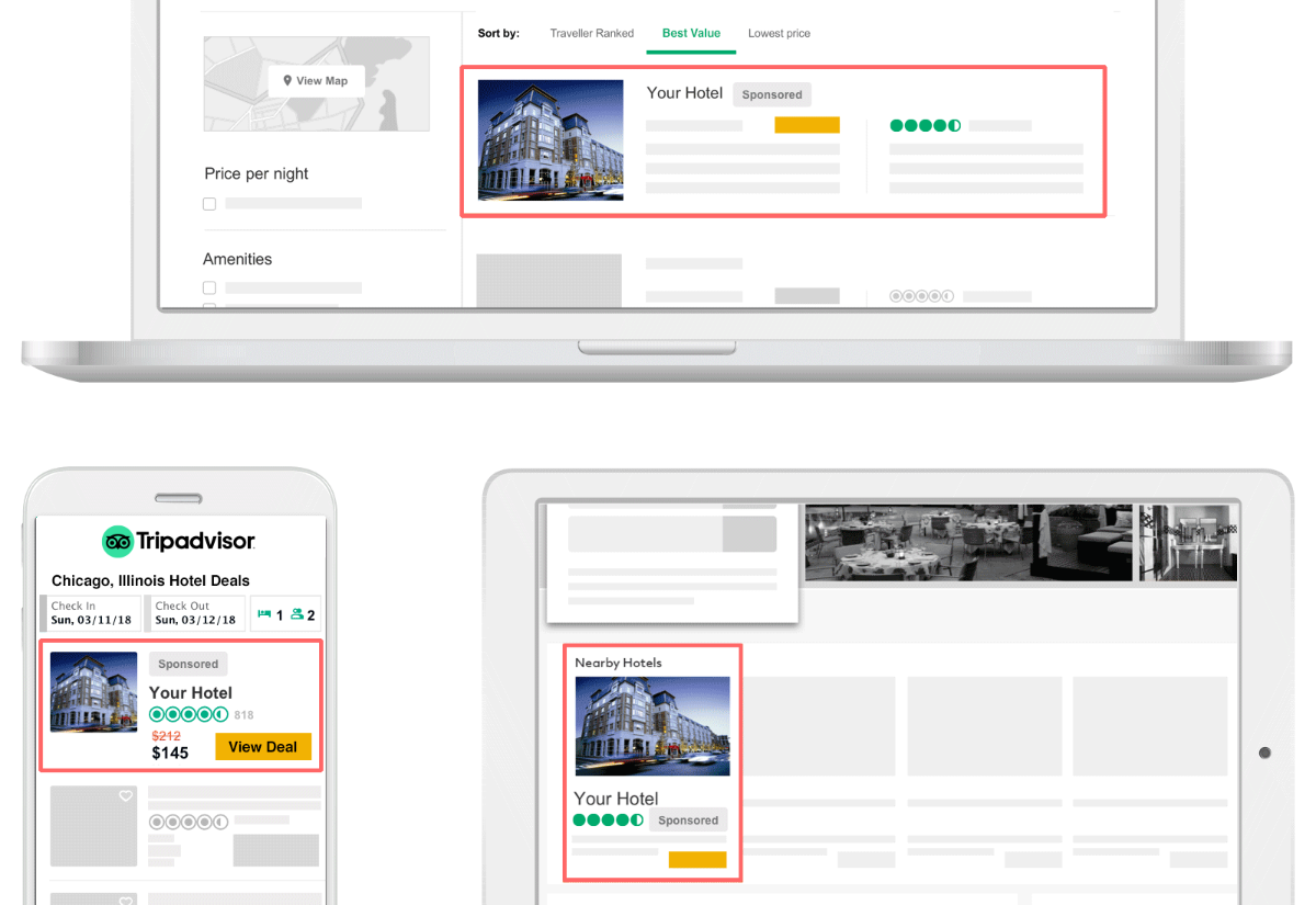 Emplacement annonces sponsored placements tripadvisor
