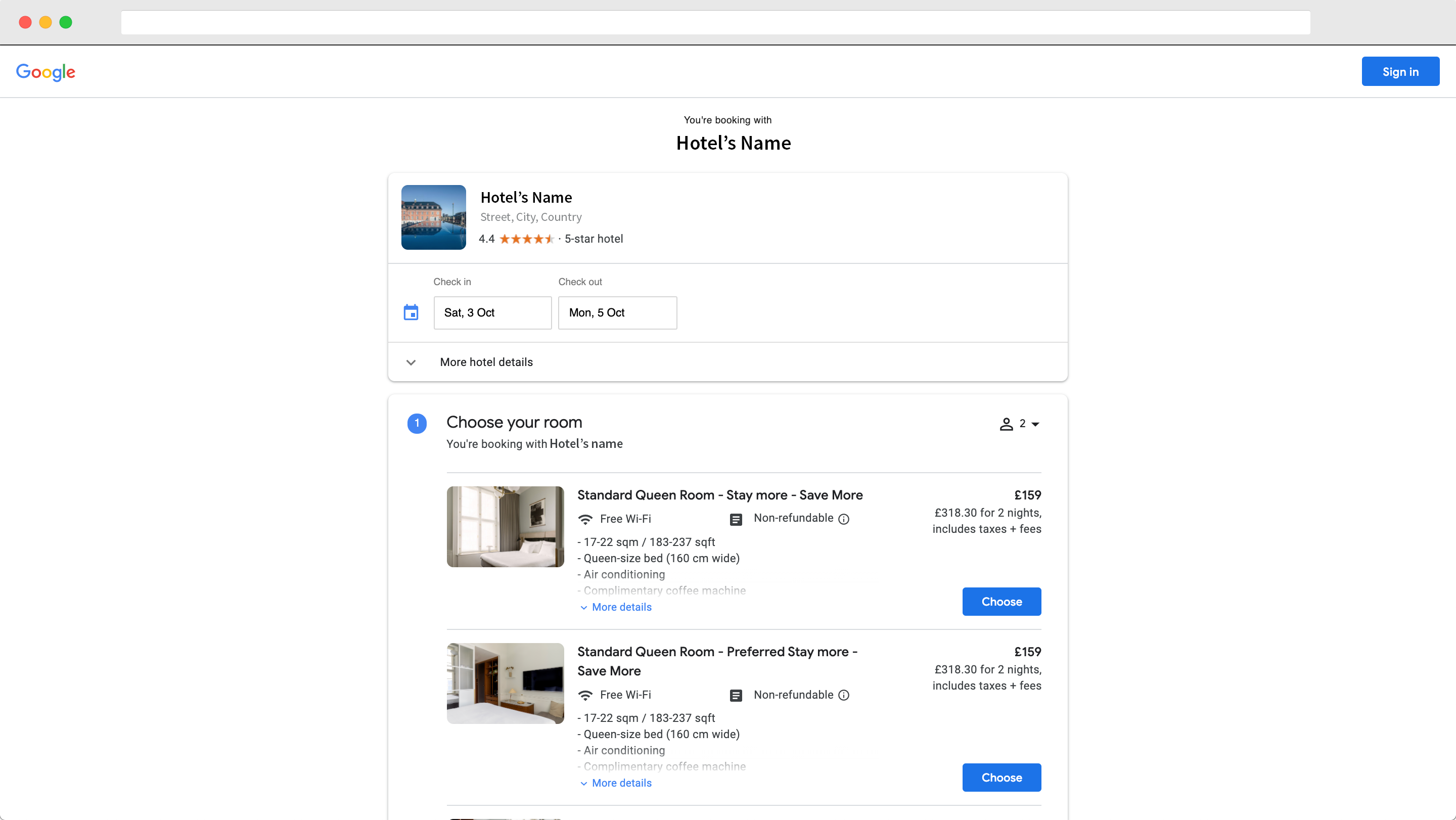 Hotel reservation on Book on Google